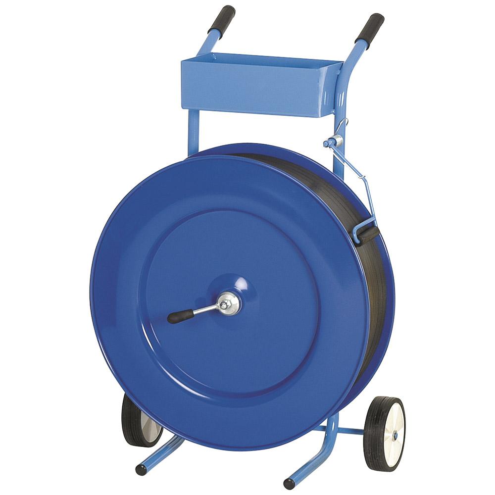 Abrollwagen mit Ablage und Bremse, 406 ER Kern blau nur für PP Kunststoffband geeignet